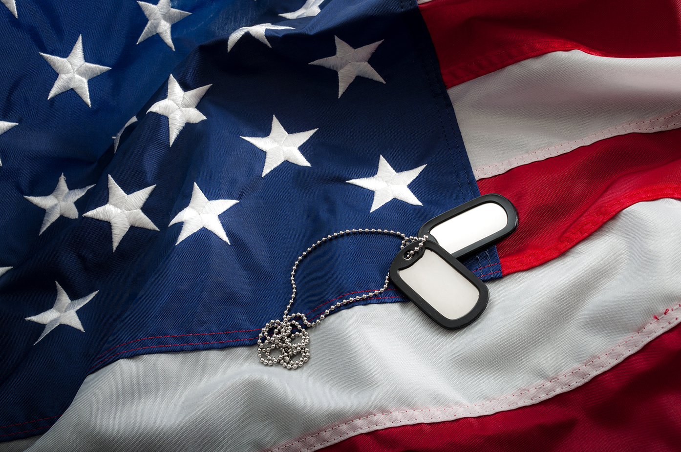 Dog tags laying on an American flag