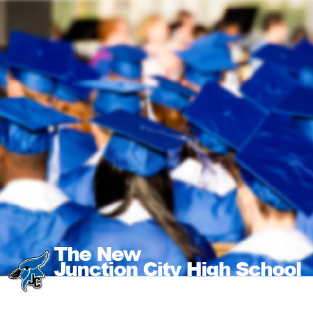 Photo of graduates sitting in blue cap and gown facing away from camera.