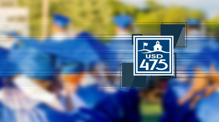 District logo surrounded by abstract square images over a blurry graduation photo.