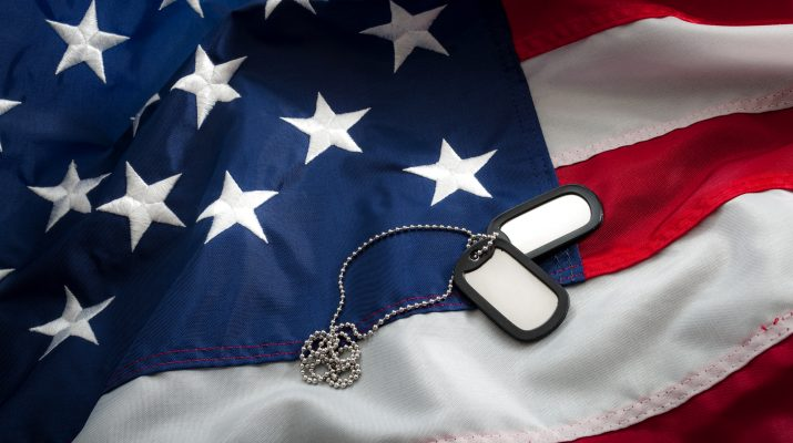 Military dog tags laid on an American flag.