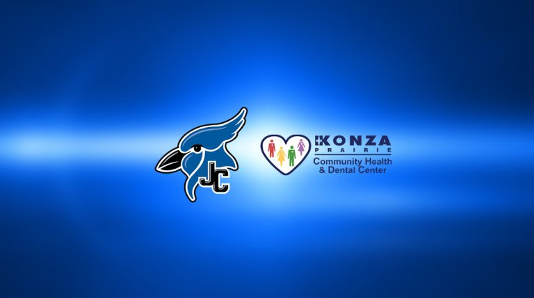 JCHS and Konza Logos on blue abstract background.