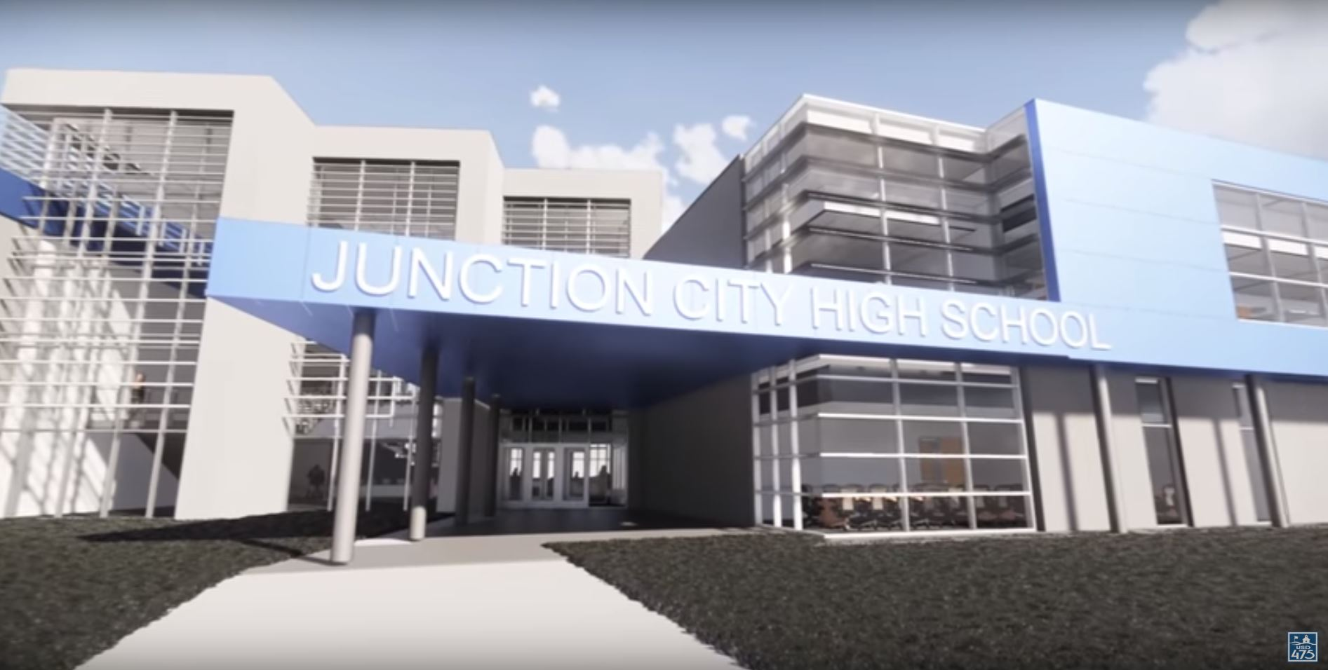 3D rendering of the entry of the new Junction City High School.