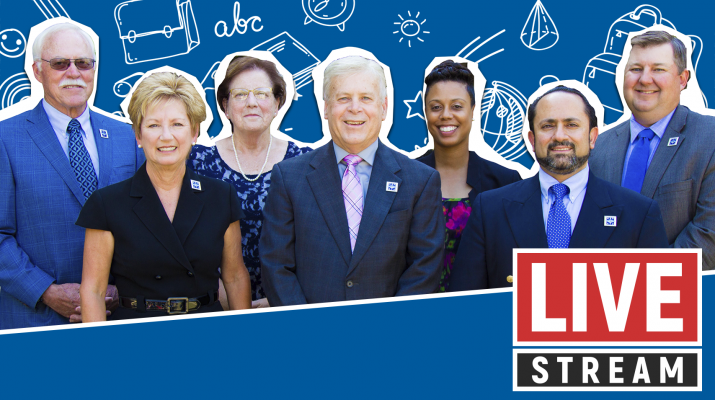 "Graphic of Board members standing infront of blue background with words ""live stream"""