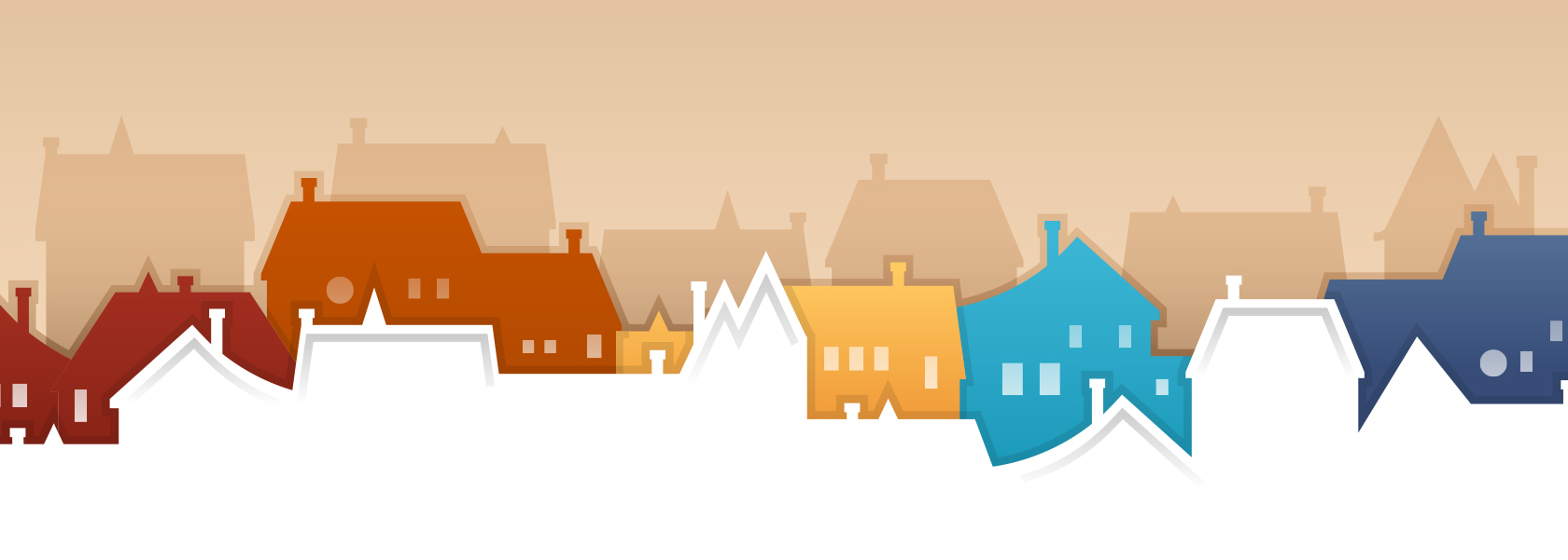 Cartoon image of different colored houses.