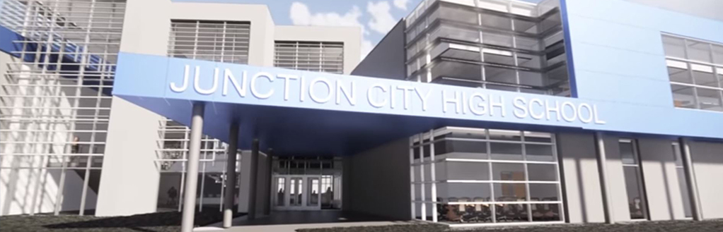 rendering of the new junction city high school building.